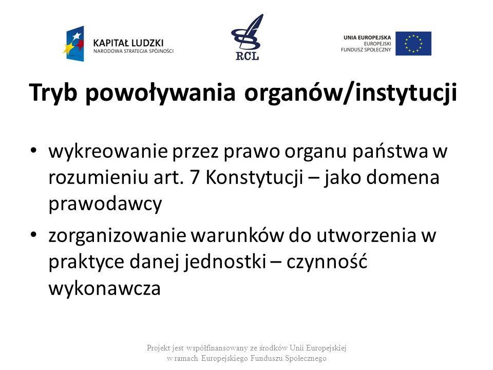 Tryb powoływania organów/instytucji wykreowanie przez prawo organu państwa w rozumieniu art. 7 Konstytucji – jako domena prawodawcy zorganizowanie war