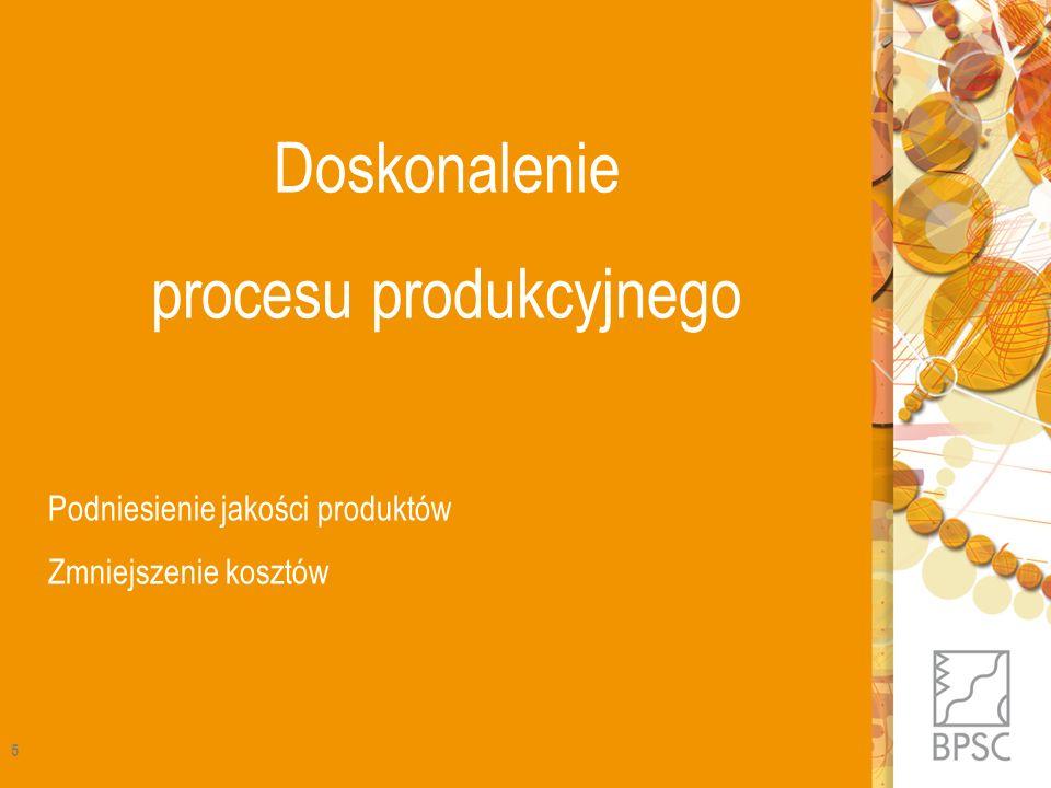 Doskonalenie procesu produkcyjnego Podniesienie jakości produktów Zmniejszenie kosztów 5