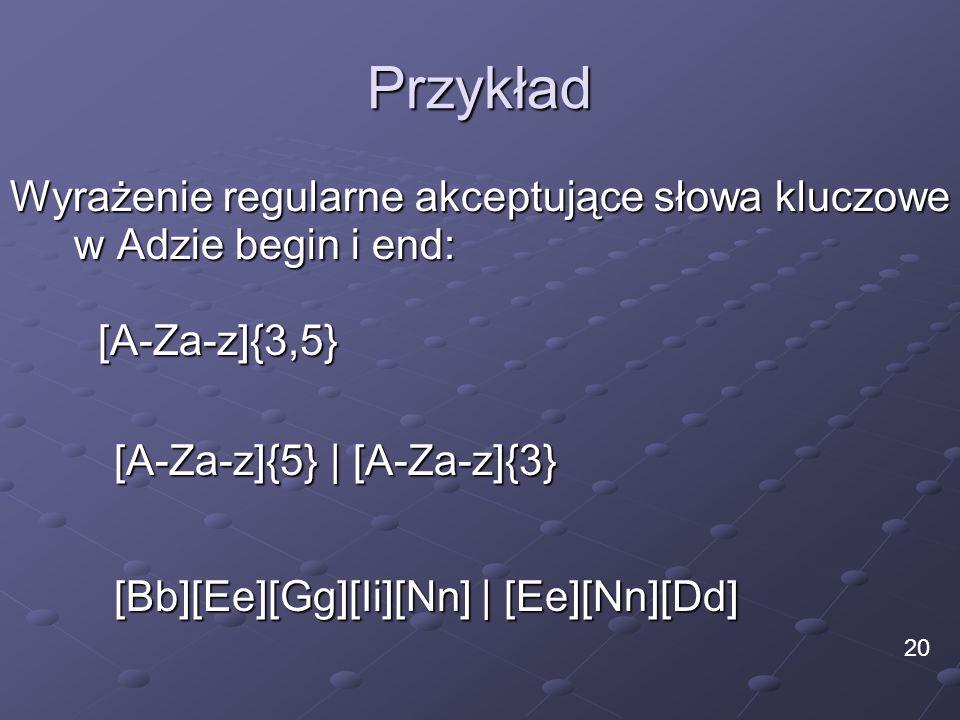 Przykład Wyrażenie regularne akceptujące słowa kluczowe w Adzie begin i end: [Bb][Ee][Gg][Ii][Nn] | [Ee][Nn][Dd] 20 [A-Za-z]{3,5} [A-Za-z]{5} | [A-Za-