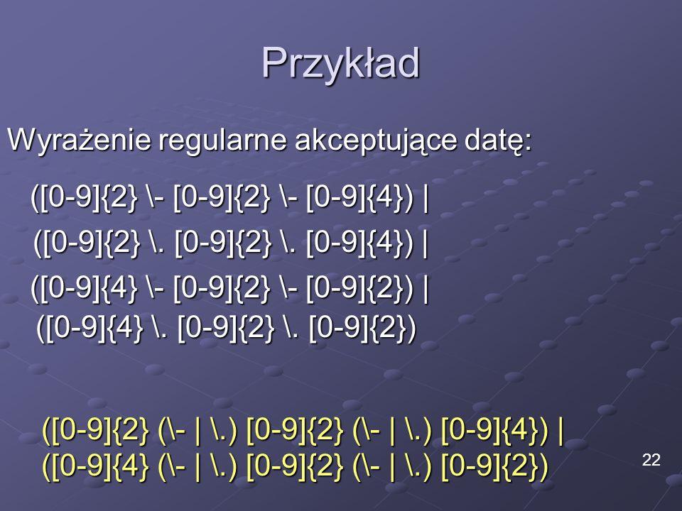 Przykład Wyrażenie regularne akceptujące datę: ([0-9]{2} (\- | \.) [0-9]{2} (\- | \.) [0-9]{4}) | ([0-9]{4} (\- | \.) [0-9]{2} (\- | \.) [0-9]{2}) 22
