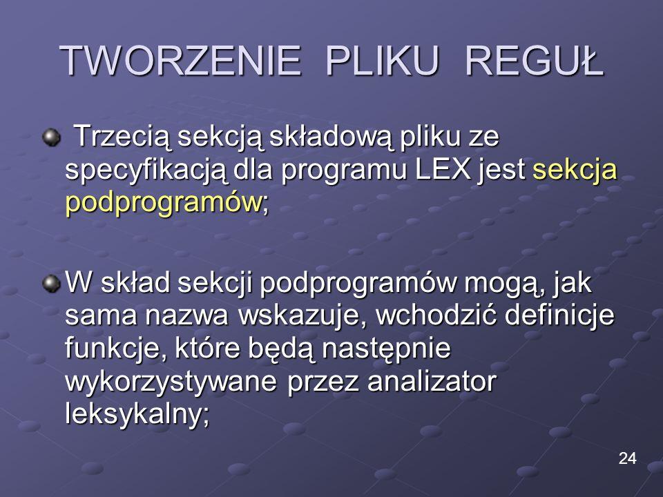 TWORZENIE PLIKU REGUŁ Trzecią sekcją składową pliku ze specyfikacją dla programu LEX jest sekcja podprogramów; Trzecią sekcją składową pliku ze specyf