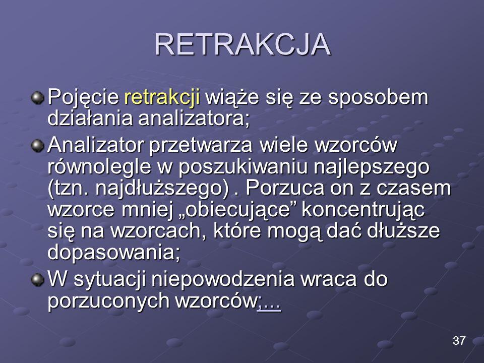 RETRAKCJA Pojęcie retrakcji wiąże się ze sposobem działania analizatora; Analizator przetwarza wiele wzorców równolegle w poszukiwaniu najlepszego (tz