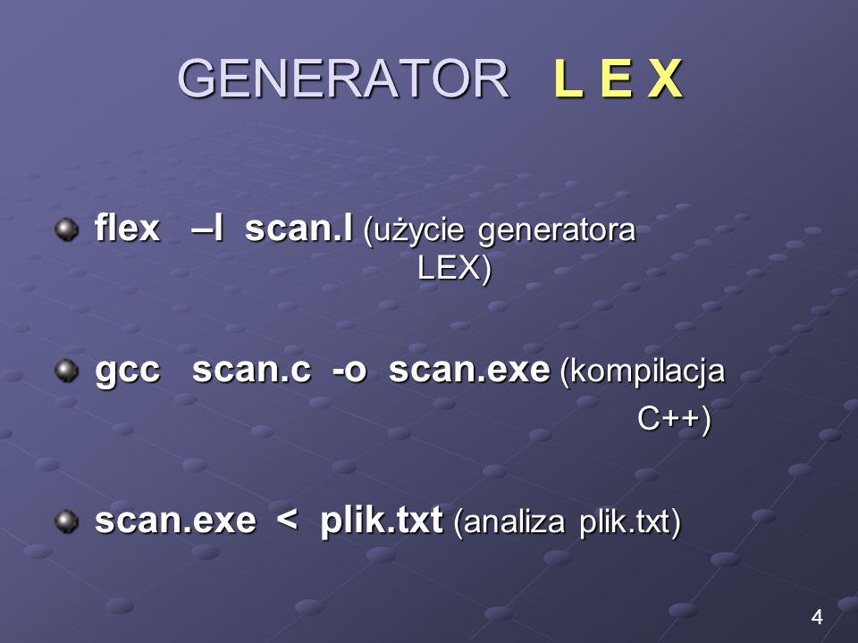 GENERATOR L E X flex –l scan.l (użycie generatora LEX) flex –l scan.l (użycie generatora LEX) gcc scan.c -o scan.exe (kompilacja gcc scan.c -o scan.ex