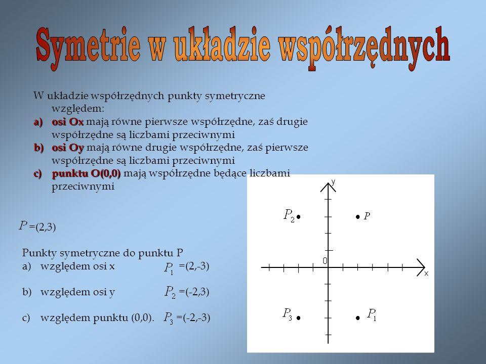=(2,3) Punkty symetryczne do punktu P a)względem osi x =(2,-3) b)względem osi y =(-2,3) c)względem punktu (0,0). =(-2,-3) W układzie współrzędnych pun