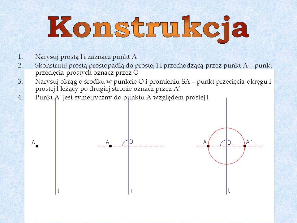 1.Narysuj prostą l i zaznacz punkt A 2.Skonstruuj prostą prostopadłą do prostej l i przechodzącą przez punkt A – punkt przecięcia prostych oznacz prze