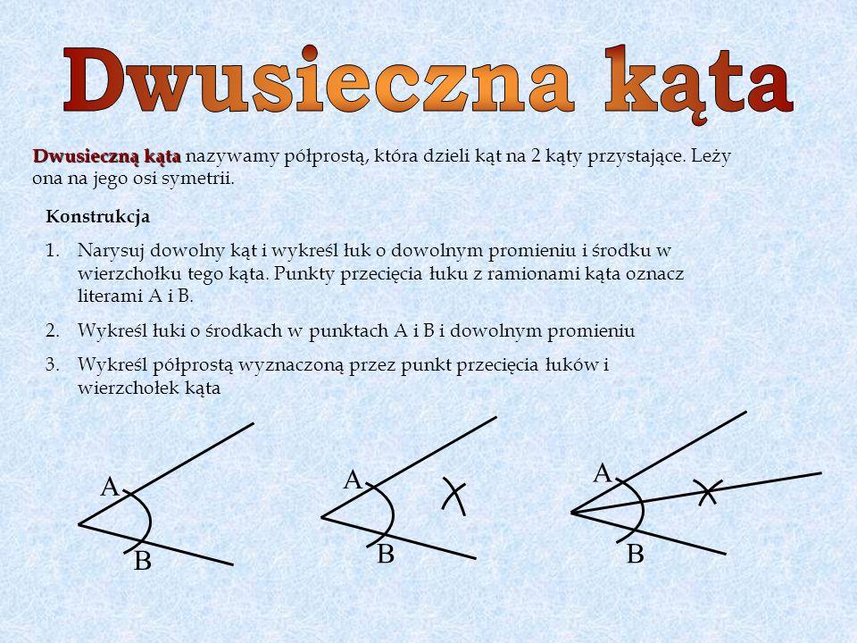 Dwusieczną kąta Dwusieczną kąta nazywamy półprostą, która dzieli kąt na 2 kąty przystające. Leży ona na jego osi symetrii. Konstrukcja 1.Narysuj dowol