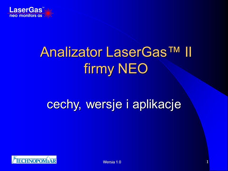 Wersia 1.0 1 Analizator LaserGas II firmy NEO cechy, wersje i aplikacje