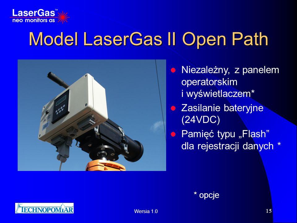 Wersia 1.0 15 Model LaserGas II Open Path Niezależny, z panelem operatorskim i wyświetlaczem* Zasilanie bateryjne (24VDC) Pamięć typu Flash dla rejest