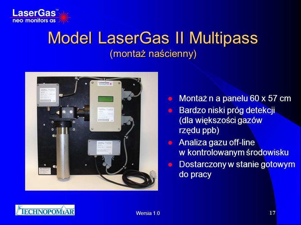 Wersia 1.0 17 Model LaserGas II Multipass (montaż naścienny) Montaż n a panelu 60 x 57 cm Bardzo niski próg detekcji (dla większości gazów rzędu ppb)