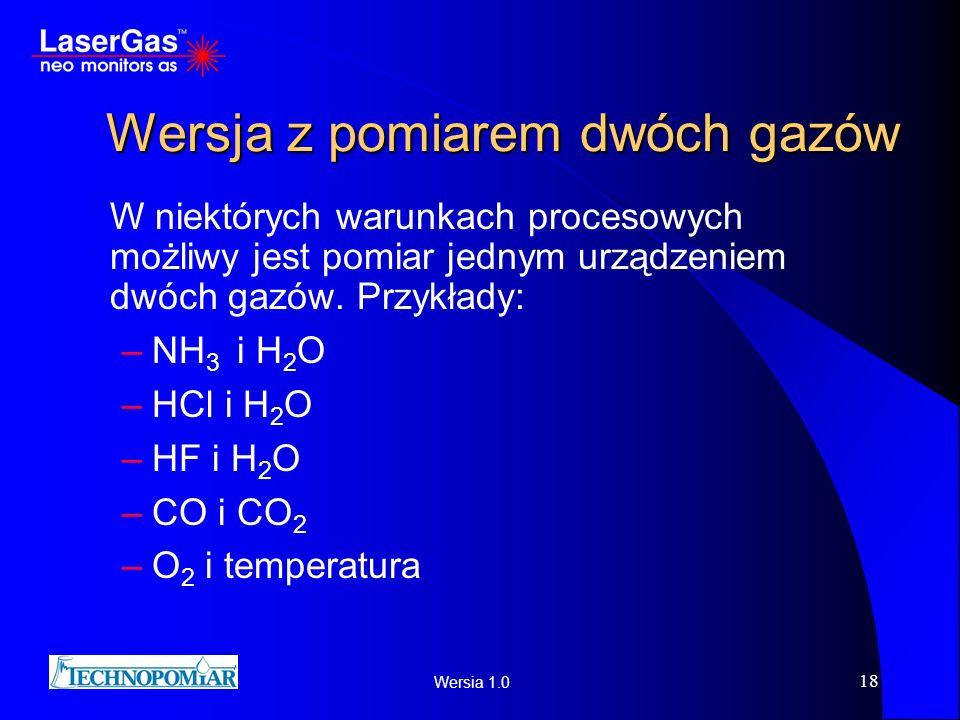 Wersia 1.0 18 Wersja z pomiarem dwóch gazów W niektórych warunkach procesowych możliwy jest pomiar jednym urządzeniem dwóch gazów. Przykłady: –NH 3 i