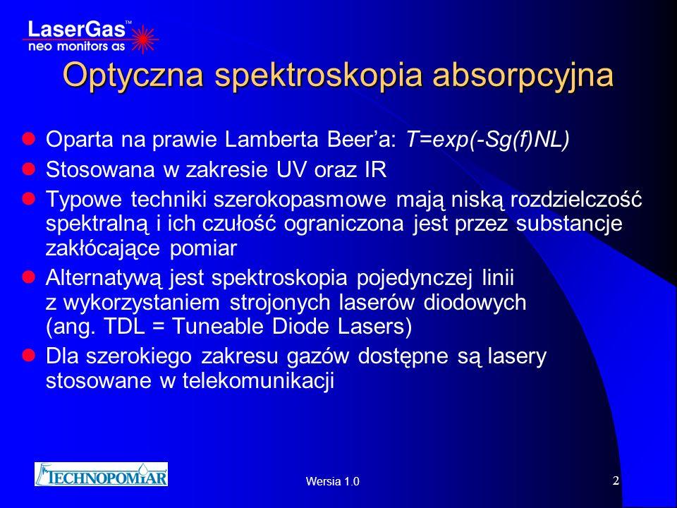 Wersia 1.0 2 Optyczna spektroskopia absorpcyjna Oparta na prawie Lamberta Beera: T=exp(-Sg(f)NL) Stosowana w zakresie UV oraz IR Typowe techniki szero
