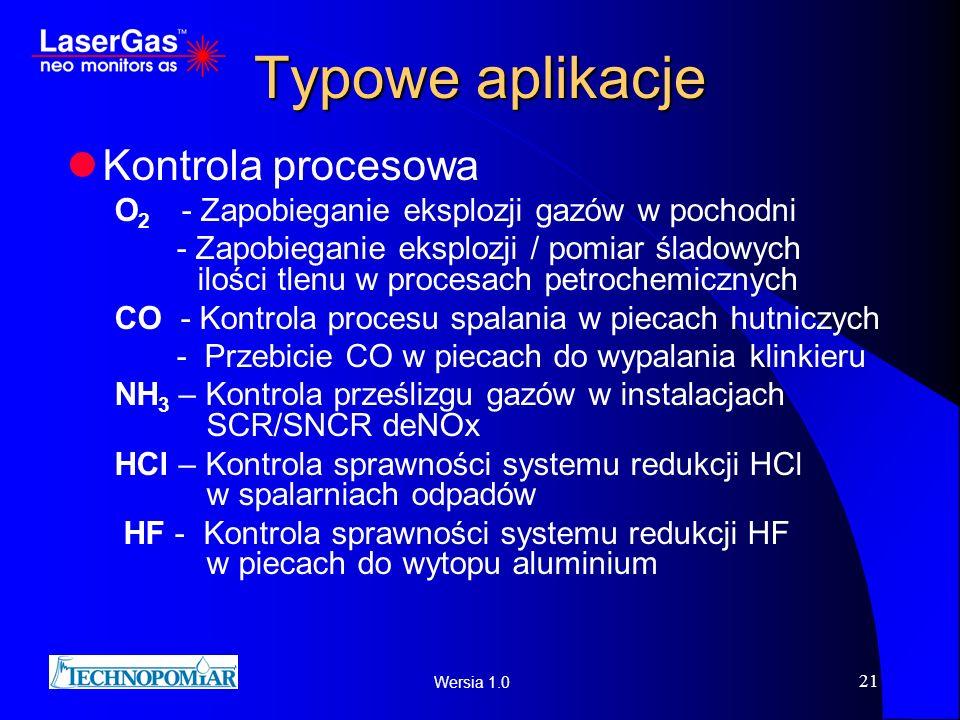 Wersia 1.0 21 Typowe aplikacje Kontrola procesowa O 2 - Zapobieganie eksplozji gazów w pochodni - Zapobieganie eksplozji / pomiar śladowych ilości tle