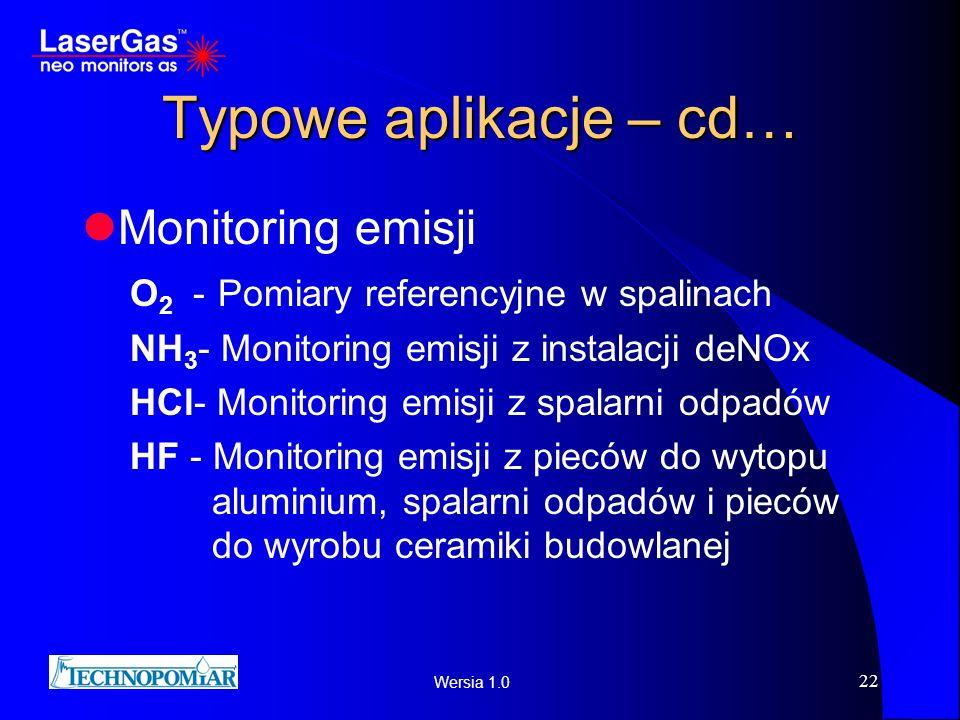 Wersia 1.0 22 Typowe aplikacje – cd… Monitoring emisji O 2 - Pomiary referencyjne w spalinach NH 3 - Monitoring emisji z instalacji deNOx HCl- Monitor