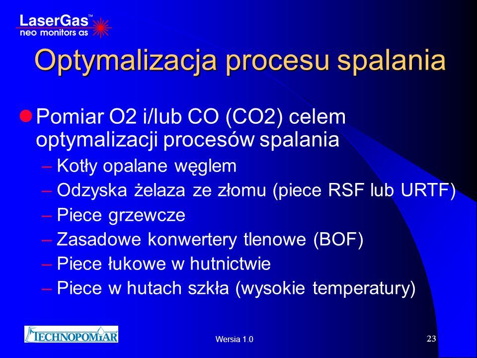 Wersia 1.0 23 Optymalizacja procesu spalania Pomiar O2 i/lub CO (CO2) celem optymalizacji procesów spalania –Kotły opalane węglem –Odzyska żelaza ze z