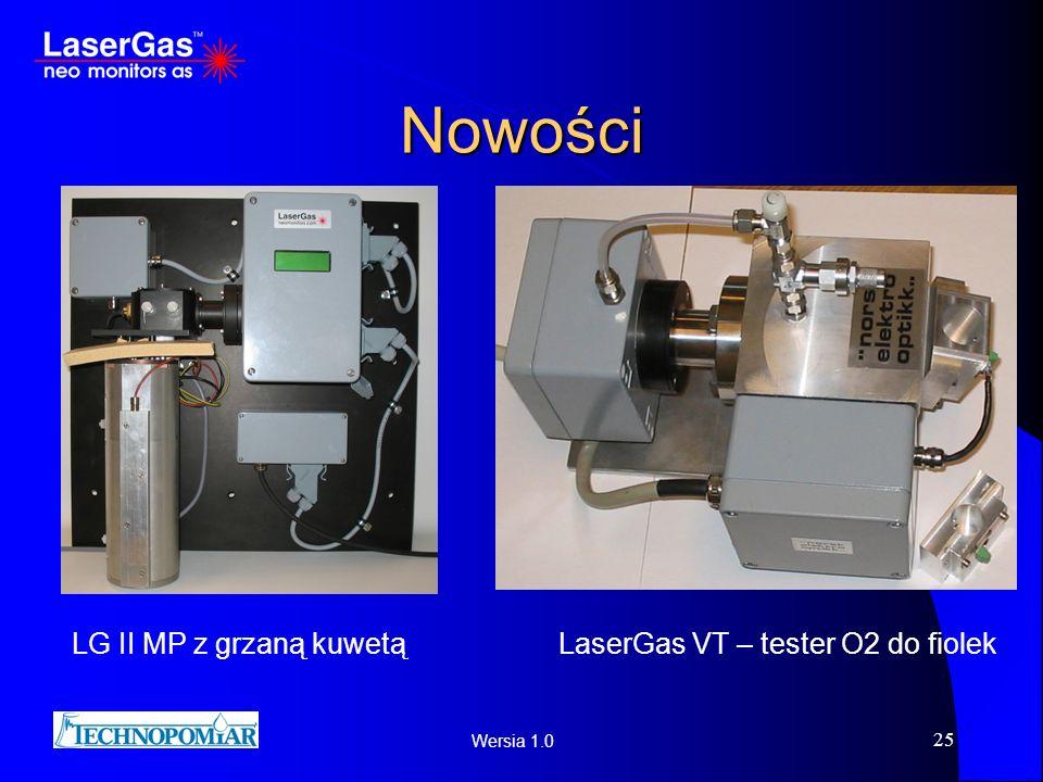 Wersia 1.0 25 Nowości LG II MP z grzaną kuwetąLaserGas VT – tester O2 do fiolek
