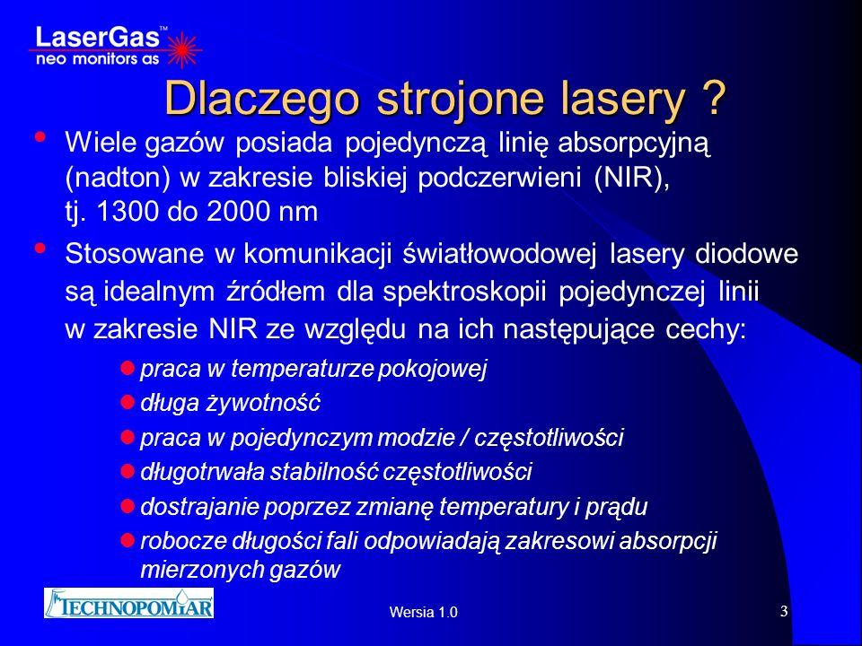 Wersia 1.0 3 Dlaczego strojone lasery ? Wiele gazów posiada pojedynczą linię absorpcyjną (nadton) w zakresie bliskiej podczerwieni (NIR), tj. 1300 do