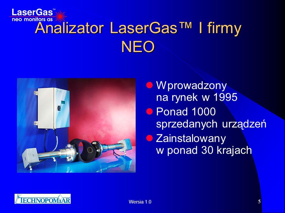 Wersia 1.0 5 Analizator LaserGas I firmy NEO Wprowadzony na rynek w 1995 Ponad 1000 sprzedanych urządzeń Zainstalowany w ponad 30 krajach