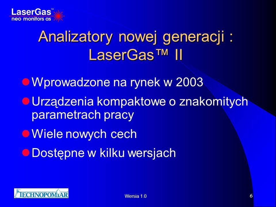 Wersia 1.0 6 Analizatory nowej generacji : LaserGas II Wprowadzone na rynek w 2003 Urządzenia kompaktowe o znakomitych parametrach pracy Wiele nowych