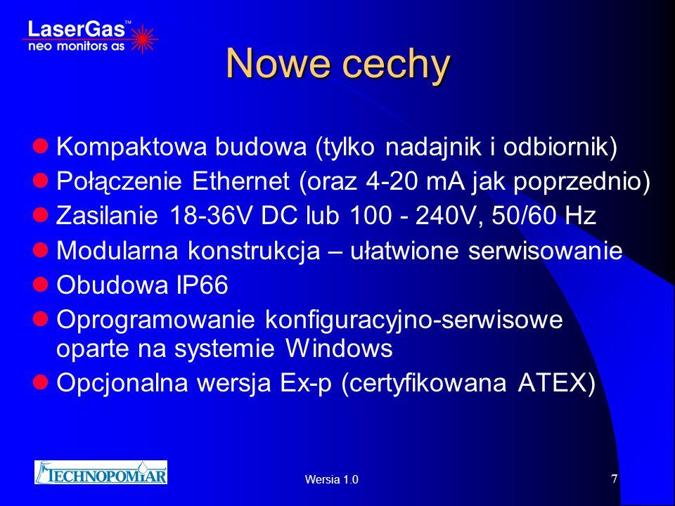 Wersia 1.0 7 Nowe cechy Kompaktowa budowa (tylko nadajnik i odbiornik) Połączenie Ethernet (oraz 4-20 mA jak poprzednio) Zasilanie 18-36V DC lub 100 -