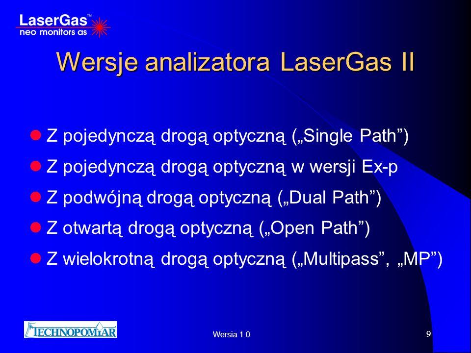 Wersia 1.0 9 Wersje analizatora LaserGas II Z pojedynczą drogą optyczną (Single Path) Z pojedynczą drogą optyczną w wersji Ex-p Z podwójną drogą optyc