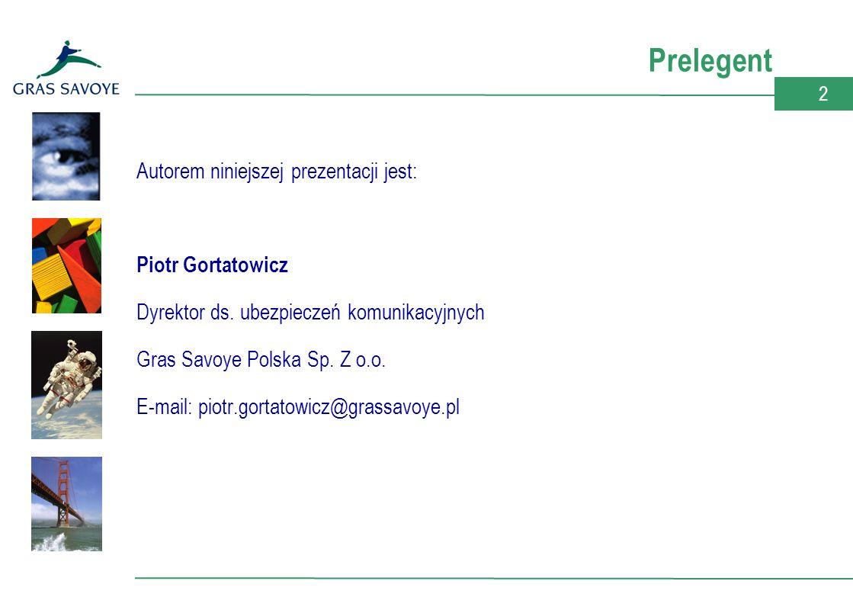 2 Prelegent Autorem niniejszej prezentacji jest: Piotr Gortatowicz Dyrektor ds.