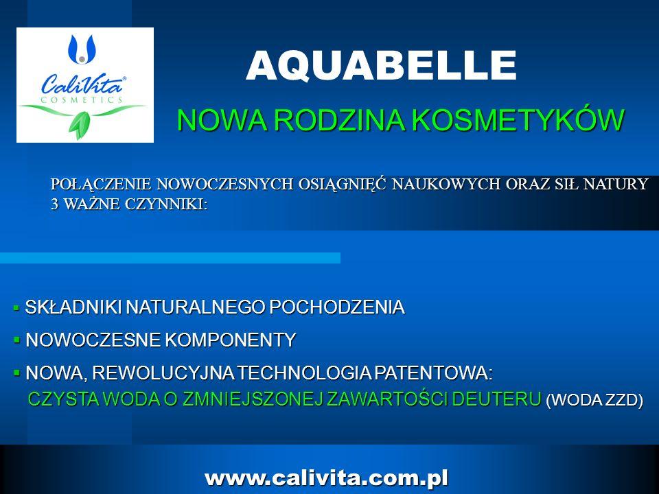2 www.calivita.com.pl AQUABELLE SKŁADNIKI NATURALNEGO POCHODZENIA SKŁADNIKI NATURALNEGO POCHODZENIA NOWOCZESNE KOMPONENTY NOWOCZESNE KOMPONENTY NOWA, REWOLUCYJNA TECHNOLOGIA PATENTOWA: NOWA, REWOLUCYJNA TECHNOLOGIA PATENTOWA: CZYSTA WODA O ZMNIEJSZONEJ ZAWARTOŚCI DEUTERU (WODA ZZD) CZYSTA WODA O ZMNIEJSZONEJ ZAWARTOŚCI DEUTERU (WODA ZZD) NOWA RODZINA KOSMETYKÓW POŁĄCZENIE NOWOCZESNYCH OSIĄGNIĘĆ NAUKOWYCH ORAZ SIŁ NATURY 3 WAŻNE CZYNNIKI: