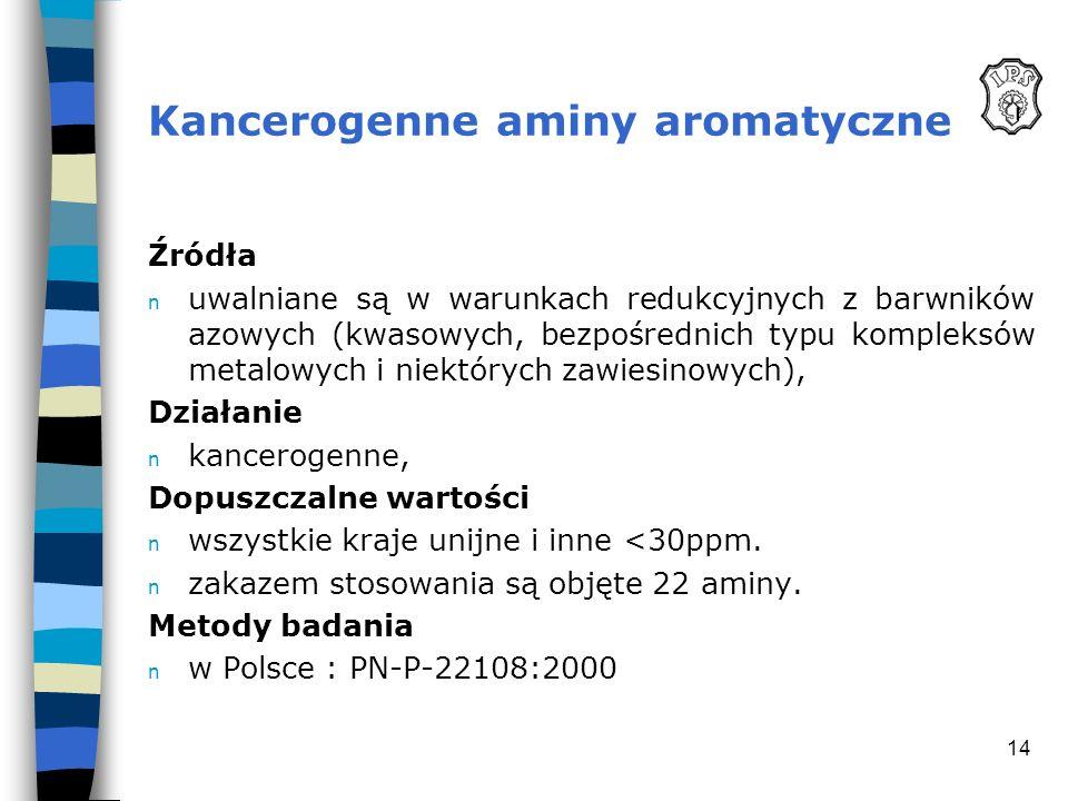 14 Kancerogenne aminy aromatyczne Źródła n uwalniane są w warunkach redukcyjnych z barwników azowych (kwasowych, bezpośrednich typu kompleksów metalow