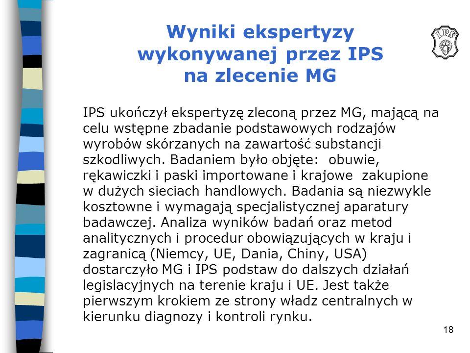 18 Wyniki ekspertyzy wykonywanej przez IPS na zlecenie MG IPS ukończył ekspertyzę zleconą przez MG, mającą na celu wstępne zbadanie podstawowych rodza