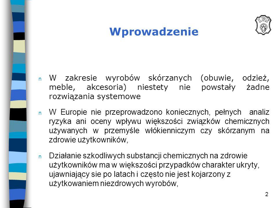 2 Wprowadzenie n W zakresie wyrobów skórzanych (obuwie, odzież, meble, akcesoria) niestety nie powstały żadne rozwiązania systemowe n W Europie nie pr