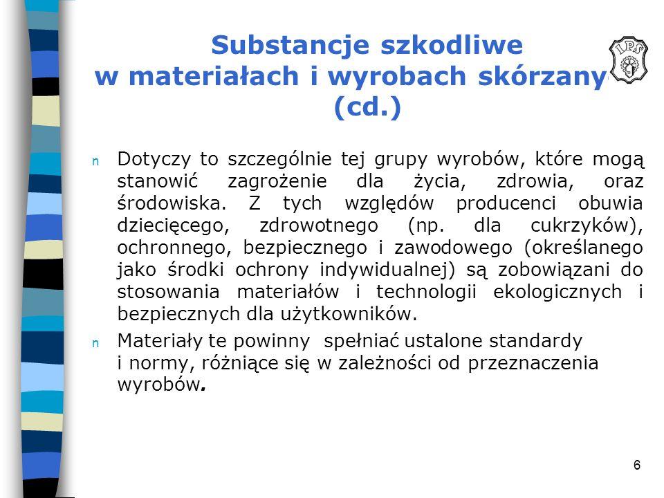 6 Substancje szkodliwe w materiałach i wyrobach skórzanych (cd.) n Dotyczy to szczególnie tej grupy wyrobów, które mogą stanowić zagrożenie dla życia,