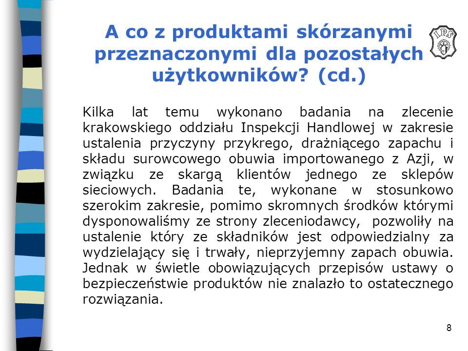 8 A co z produktami skórzanymi przeznaczonymi dla pozostałych użytkowników? (cd.) Kilka lat temu wykonano badania na zlecenie krakowskiego oddziału In