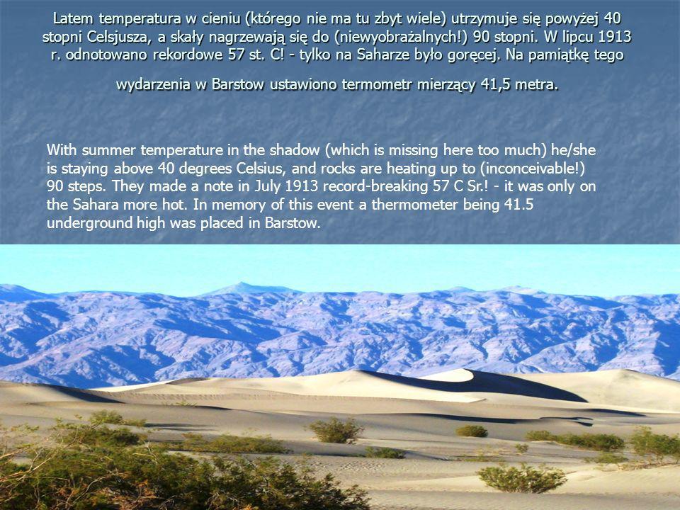 Latem temperatura w cieniu (którego nie ma tu zbyt wiele) utrzymuje się powyżej 40 stopni Celsjusza, a skały nagrzewają się do (niewyobrażalnych!) 90