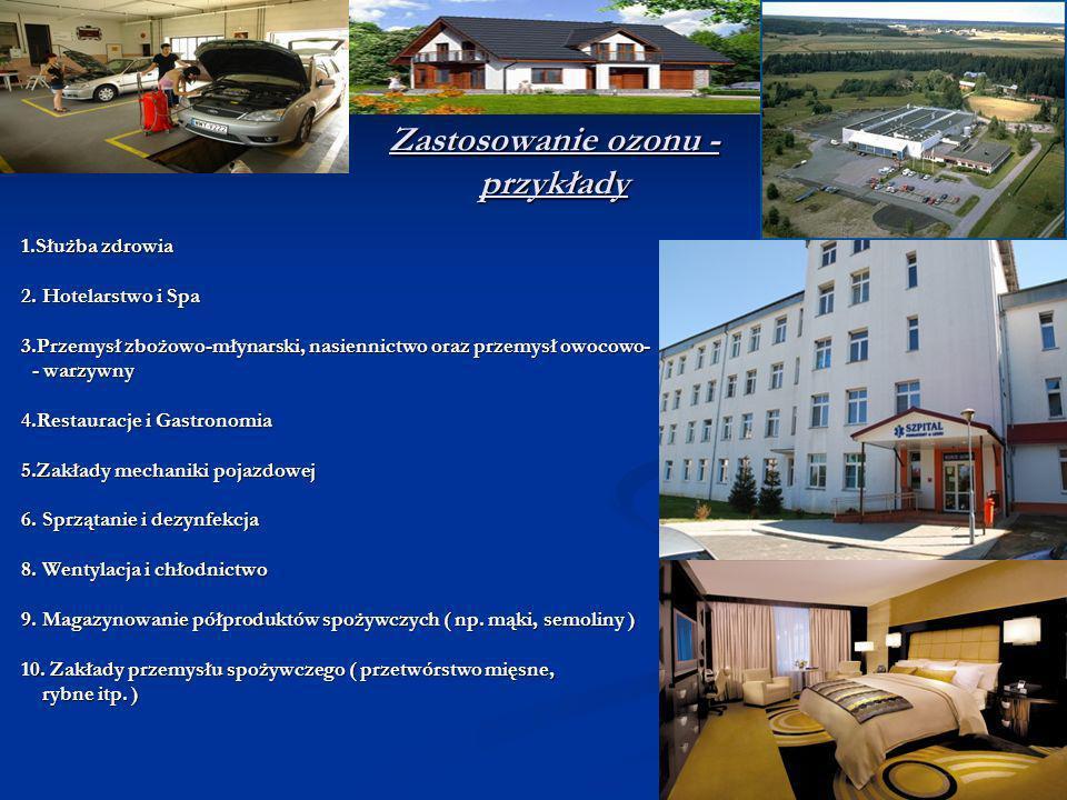 Zastosowanie ozonu - przykłady 1.Służba zdrowia 1.Służba zdrowia 2. Hotelarstwo i Spa 2. Hotelarstwo i Spa 3.Przemysł zbożowo-młynarski, nasiennictwo