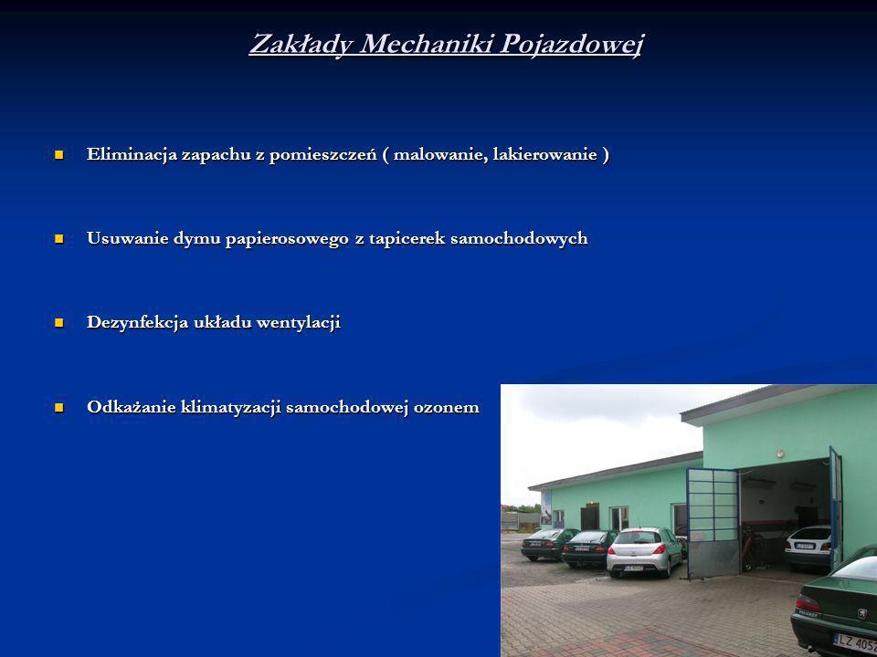 Zakłady Mechaniki Pojazdowej Eliminacja zapachu z pomieszczeń ( malowanie, lakierowanie ) Eliminacja zapachu z pomieszczeń ( malowanie, lakierowanie )