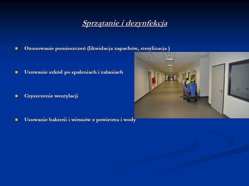 Sprzątanie i dezynfekcja Ozonowanie pomieszczeń (likwidacja zapachów, sterylizacja ) Ozonowanie pomieszczeń (likwidacja zapachów, sterylizacja ) Usuwa