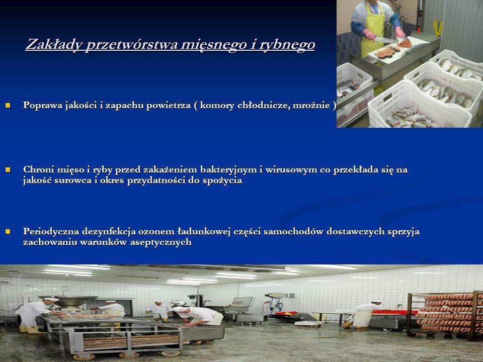 Zakłady przetwórstwa mięsnego i rybnego Poprawa jakości i zapachu powietrza ( komory chłodnicze, mroźnie ) Poprawa jakości i zapachu powietrza ( komor