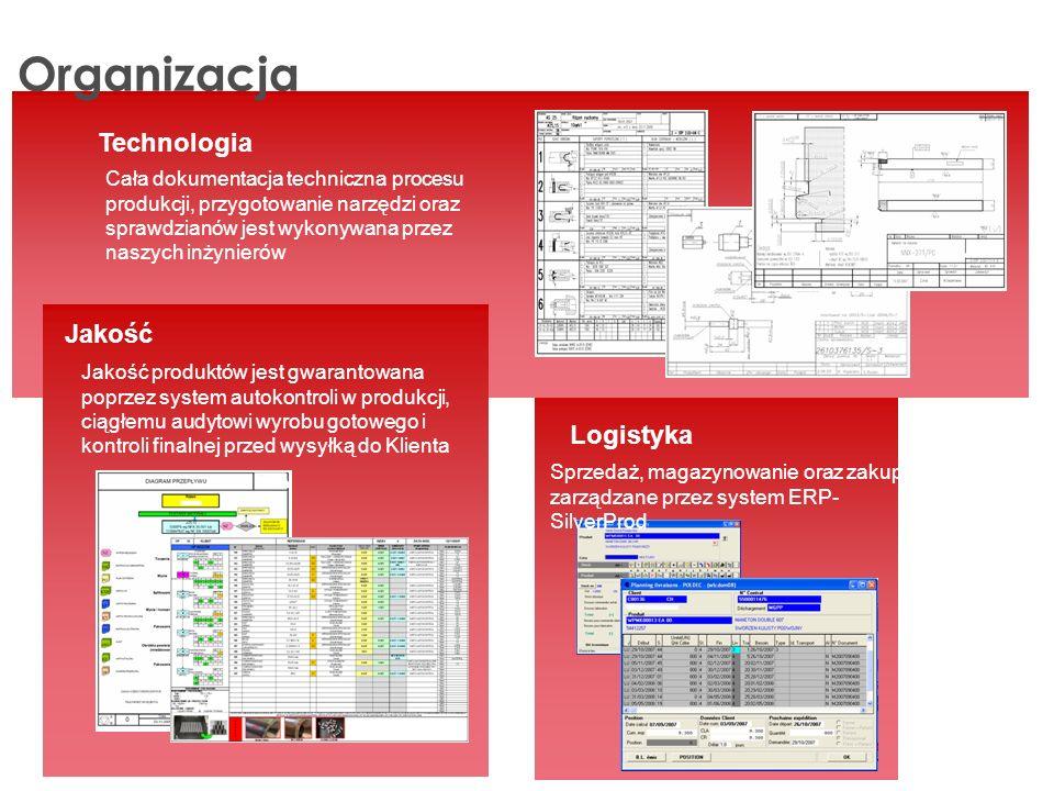 Organizacja Technologia Cała dokumentacja techniczna procesu produkcji, przygotowanie narzędzi oraz sprawdzianów jest wykonywana przez naszych inżynierów Jakość Jakość produktów jest gwarantowana poprzez system autokontroli w produkcji, ciągłemu audytowi wyrobu gotowego i kontroli finalnej przed wysyłką do Klienta Logistyka Sprzedaż, magazynowanie oraz zakupy zarządzane przez system ERP- SilverProd