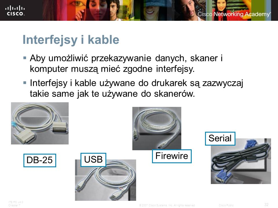 ITE PC v4.0 Chapter 7 32 © 2007 Cisco Systems, Inc. All rights reserved.Cisco Public Interfejsy i kable Aby umożliwić przekazywanie danych, skaner i k