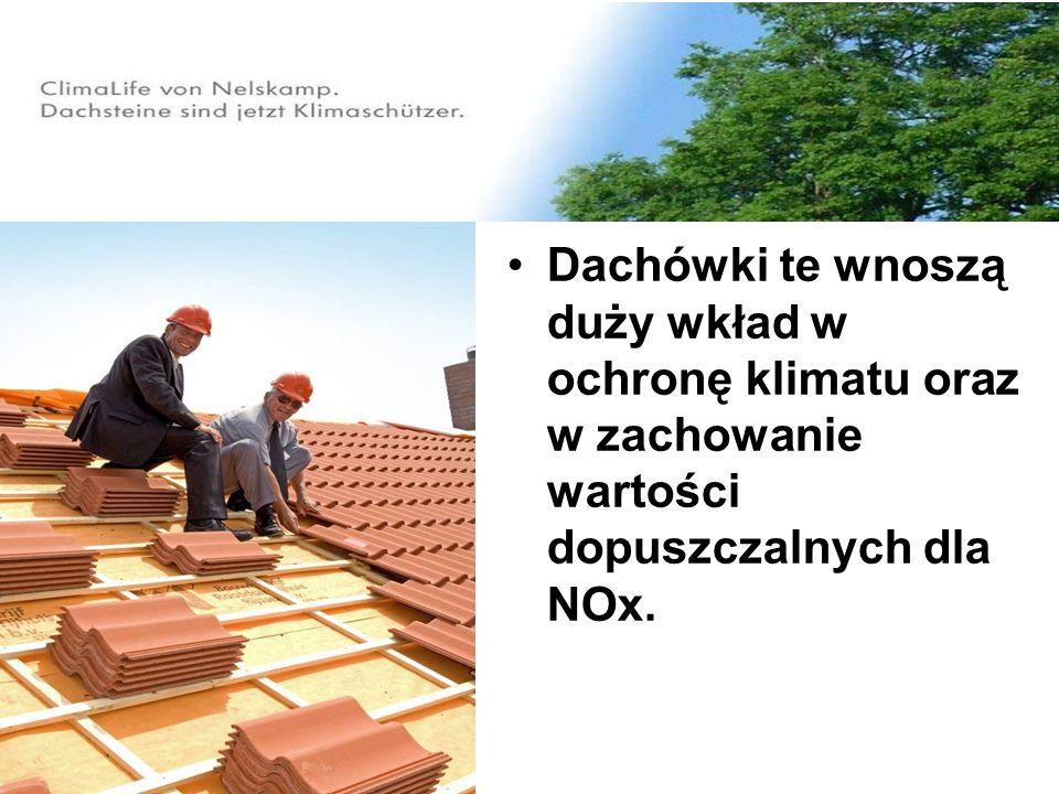 Dachówki te wnoszą duży wkład w ochronę klimatu oraz w zachowanie wartości dopuszczalnych dla NOx.
