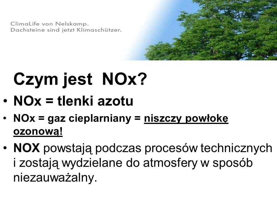 Czym jest NOx? NOx = tlenki azotu NOx = gaz cieplarniany = niszczy powłokę ozonową! NOX powstają podczas procesów technicznych i zostają wydzielane do