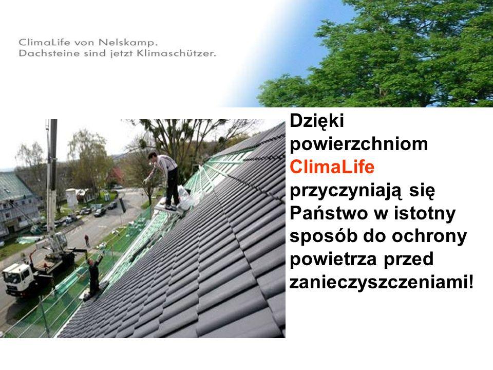 Odciążenie środowiska 200 m² pokrycia dachowego ClimaLife przekształca rocznie tyle NOx ile wydziela silnik benzynowy* samochodu osobowego przy ok.