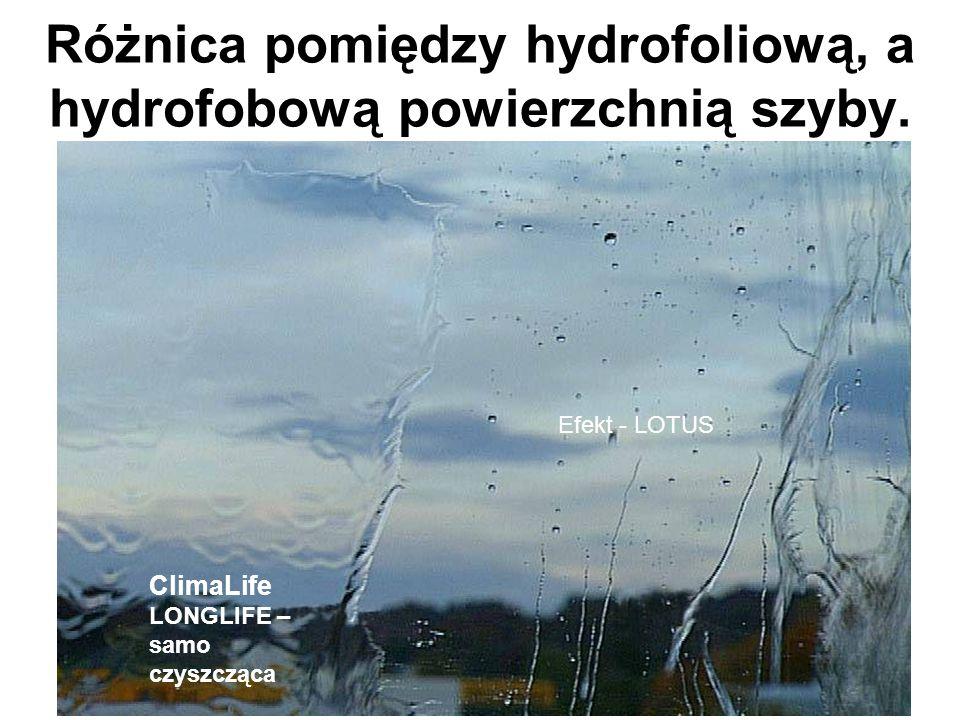 Efekt - LOTUS ClimaLife LONGLIFE – samo czyszcząca Różnica pomiędzy hydrofoliową, a hydrofobową powierzchnią szyby.