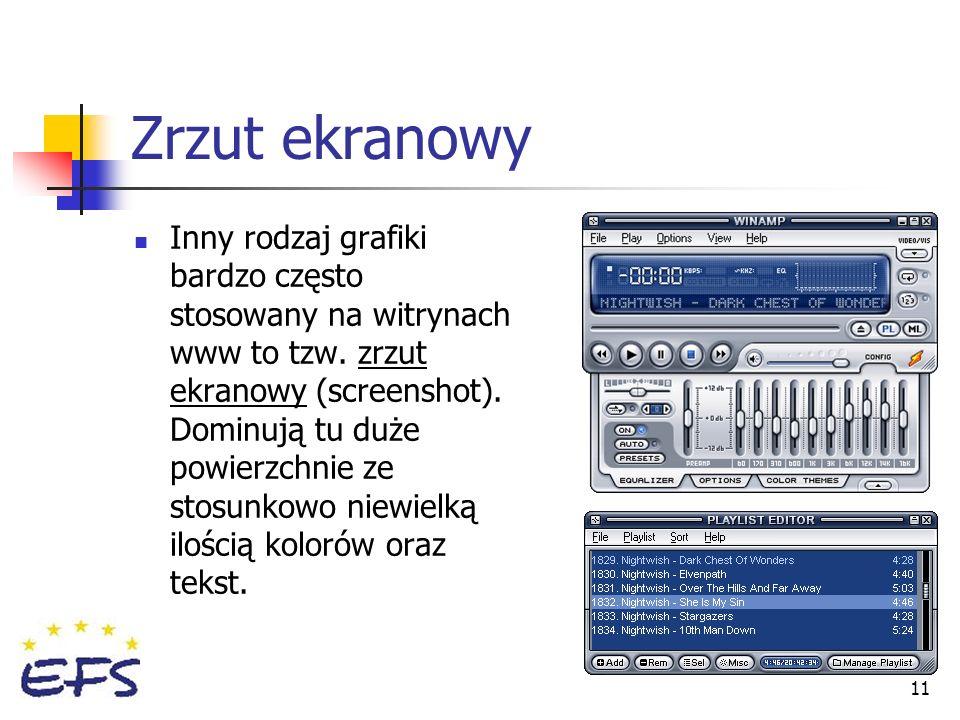 11 Zrzut ekranowy Inny rodzaj grafiki bardzo często stosowany na witrynach www to tzw. zrzut ekranowy (screenshot). Dominują tu duże powierzchnie ze s