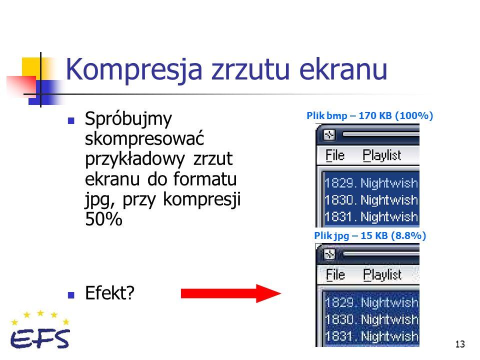 13 Spróbujmy skompresować przykładowy zrzut ekranu do formatu jpg, przy kompresji 50% Efekt? Kompresja zrzutu ekranu Plik bmp – 170 KB (100%) Plik jpg