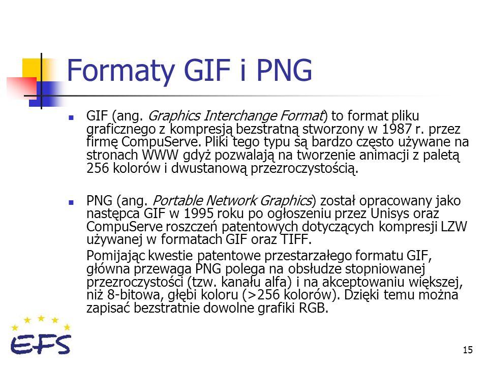 15 Formaty GIF i PNG GIF (ang. Graphics Interchange Format) to format pliku graficznego z kompresją bezstratną stworzony w 1987 r. przez firmę CompuSe