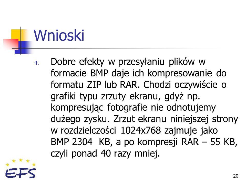 20 Wnioski 4. Dobre efekty w przesyłaniu plików w formacie BMP daje ich kompresowanie do formatu ZIP lub RAR. Chodzi oczywiście o grafiki typu zrzuty