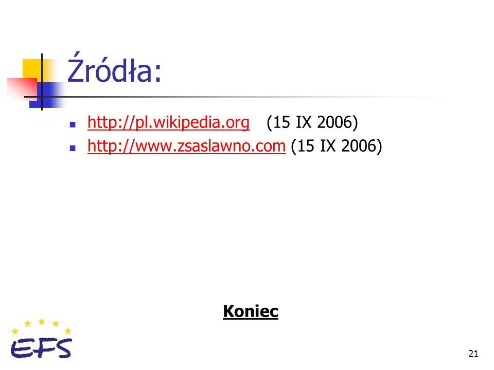 21 Źródła: http://pl.wikipedia.org(15 IX 2006) http://www.zsaslawno.com (15 IX 2006) Koniec