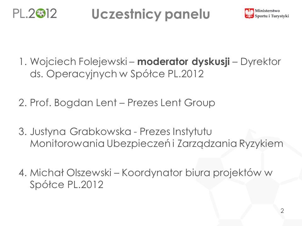 Uczestnicy panelu 1.Wojciech Folejewski – moderator dyskusji – Dyrektor ds. Operacyjnych w Spółce PL.2012 2.Prof. Bogdan Lent – Prezes Lent Group 3.Ju