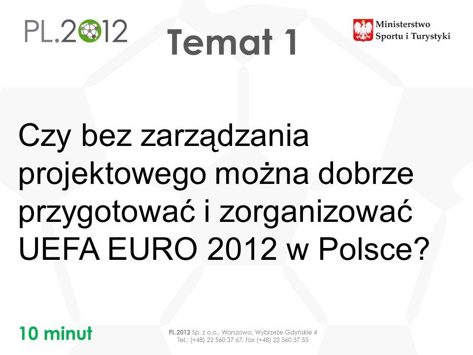 Tytuł prezentacji Miejscowość, DD MM RRRR Tytuł prezentacji Miejscowość, DD MM RRRR Tytuł prezentacji Miejscowość, DD MM RRRR Tytuł prezentacji Miejscowość, DD MM RRRR Temat 1 Czy bez zarządzania projektowego można dobrze przygotować i zorganizować UEFA EURO 2012 w Polsce.