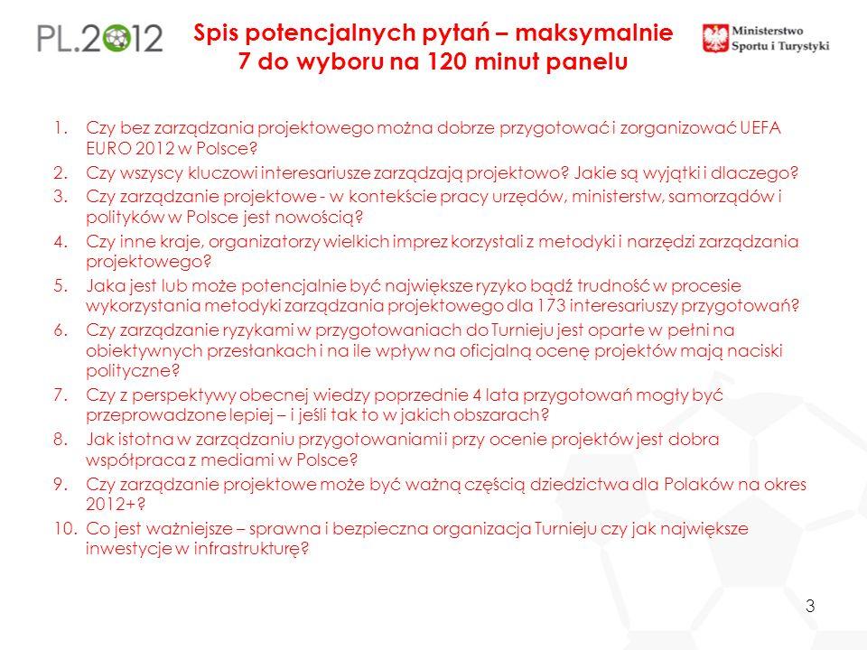 Spis potencjalnych pytań – maksymalnie 7 do wyboru na 120 minut panelu 1.Czy bez zarządzania projektowego można dobrze przygotować i zorganizować UEFA EURO 2012 w Polsce.